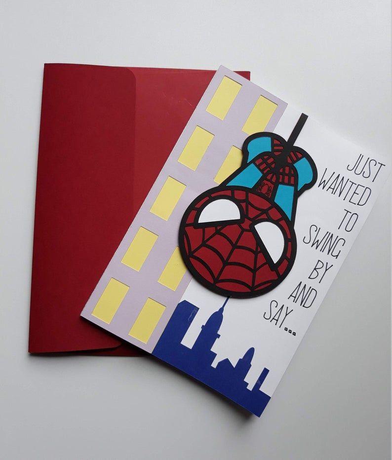 Spider Man Birthday Card Greeting Card Invitation Birthday Card Drawing Superhero Gift Card Birthday Cards For Men