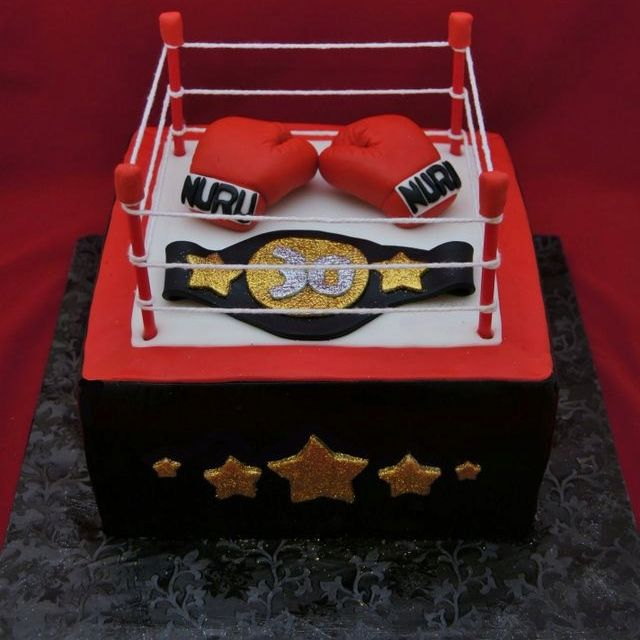 Pleasant Boxing Ring Cake With Images Boxing Gloves Cake Box Cake Funny Birthday Cards Online Hendilapandamsfinfo