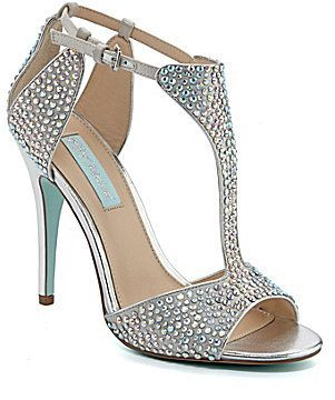 Blue By Betsey Johnson I Do Beaded T Strap Dress Sandals · Silver Wedding  ...