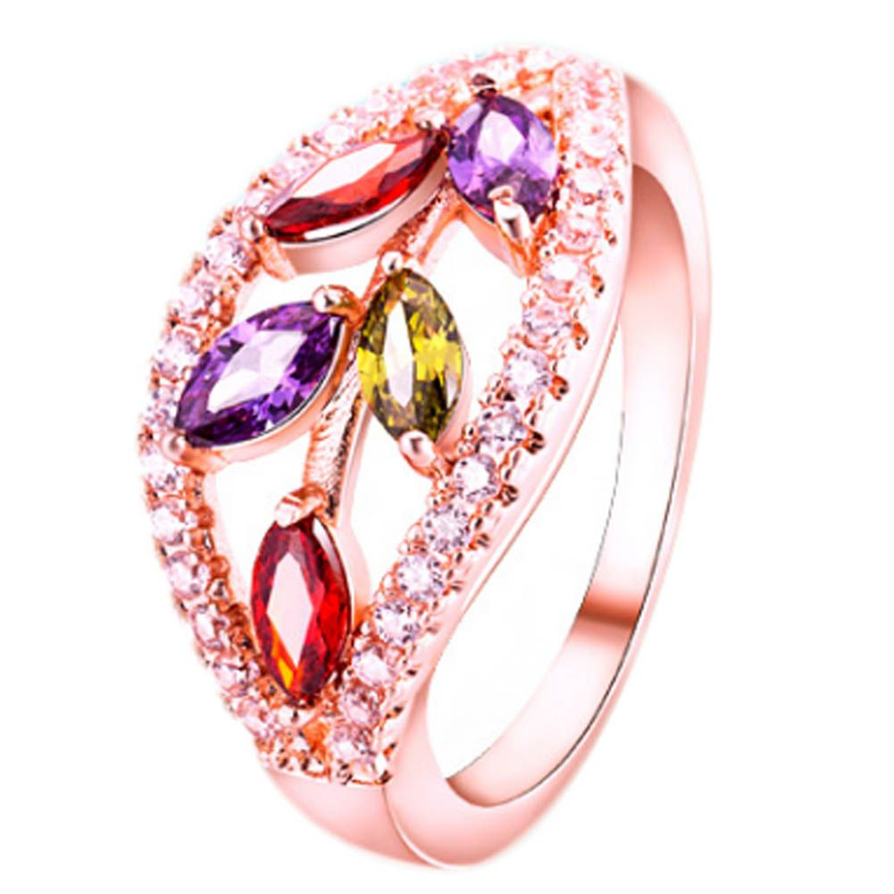 Colorful Crystal Ring Double Row Zircon Inlaid Women\'S Ring Full ...