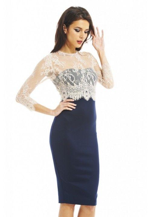 AX Paris Womens Midi Bodycon Crochet Dress, Sleeveless