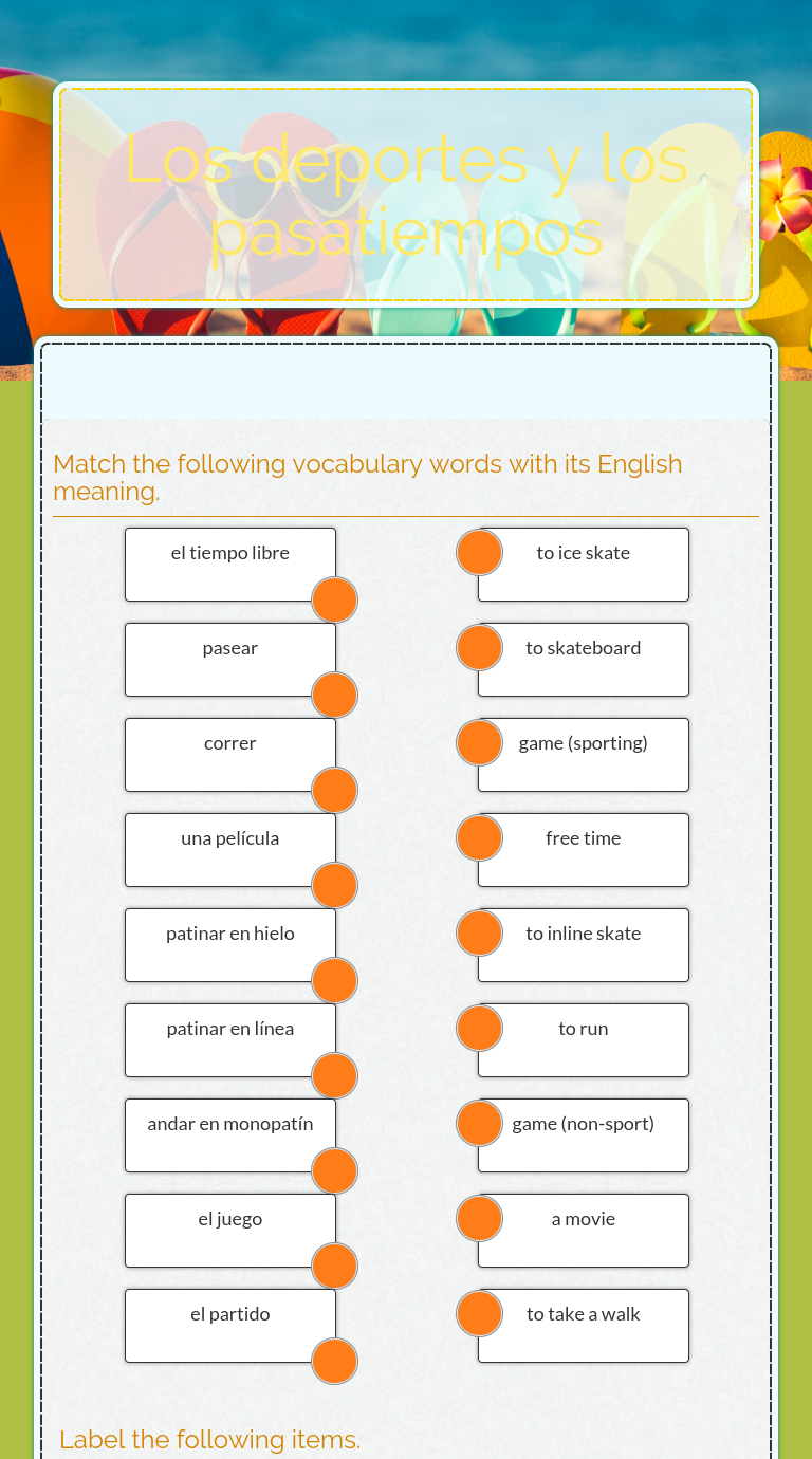 Wizer Me Blended Worksheet Los Deportes Y Los Pasatiempos Spanish Resources Interactive Teachers [ 1380 x 768 Pixel ]