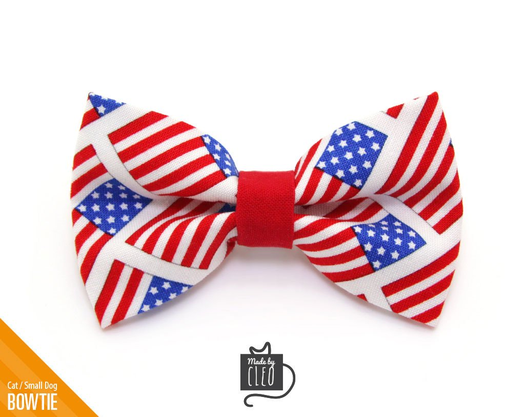 Pet Bow Tie Old Glory American Flag Bowtie For Cats Small Dogs Red White Blue 4th Of July Pet Bow Ties Pet Bows Cat Bow Tie