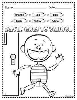 David Goes To School Color By Number Reading Comprehension For