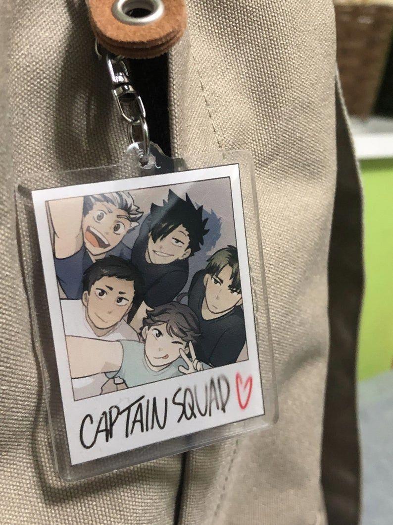 Haikyuu Acrylic Keychain Charm Captain Squad Polaroid In 2021 Haikyuu Anime Anime Diys Haikyuu Karasuno