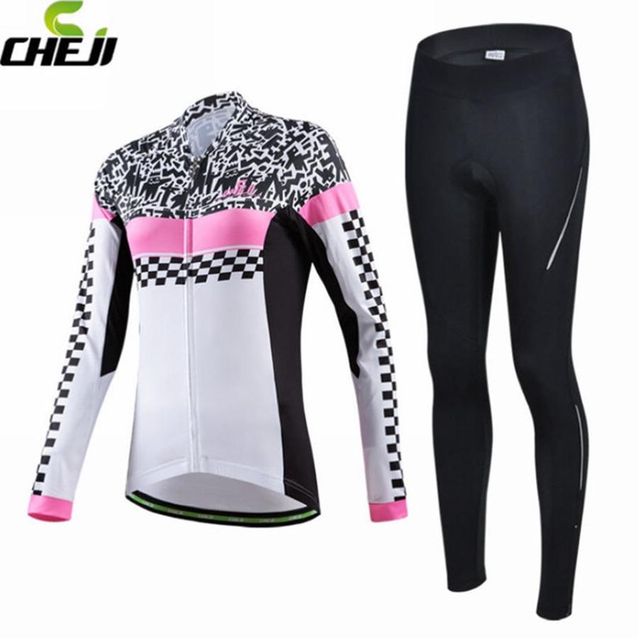38.99$  Buy now - http://alizo0.shopchina.info/go.php?t=32719731522 - CHEJI Women Cycling Jersey Comfortable Long Sleeve & Padded Pants Ropa Ciclismo Clothing Wear 38.99$ #magazineonlinebeautiful