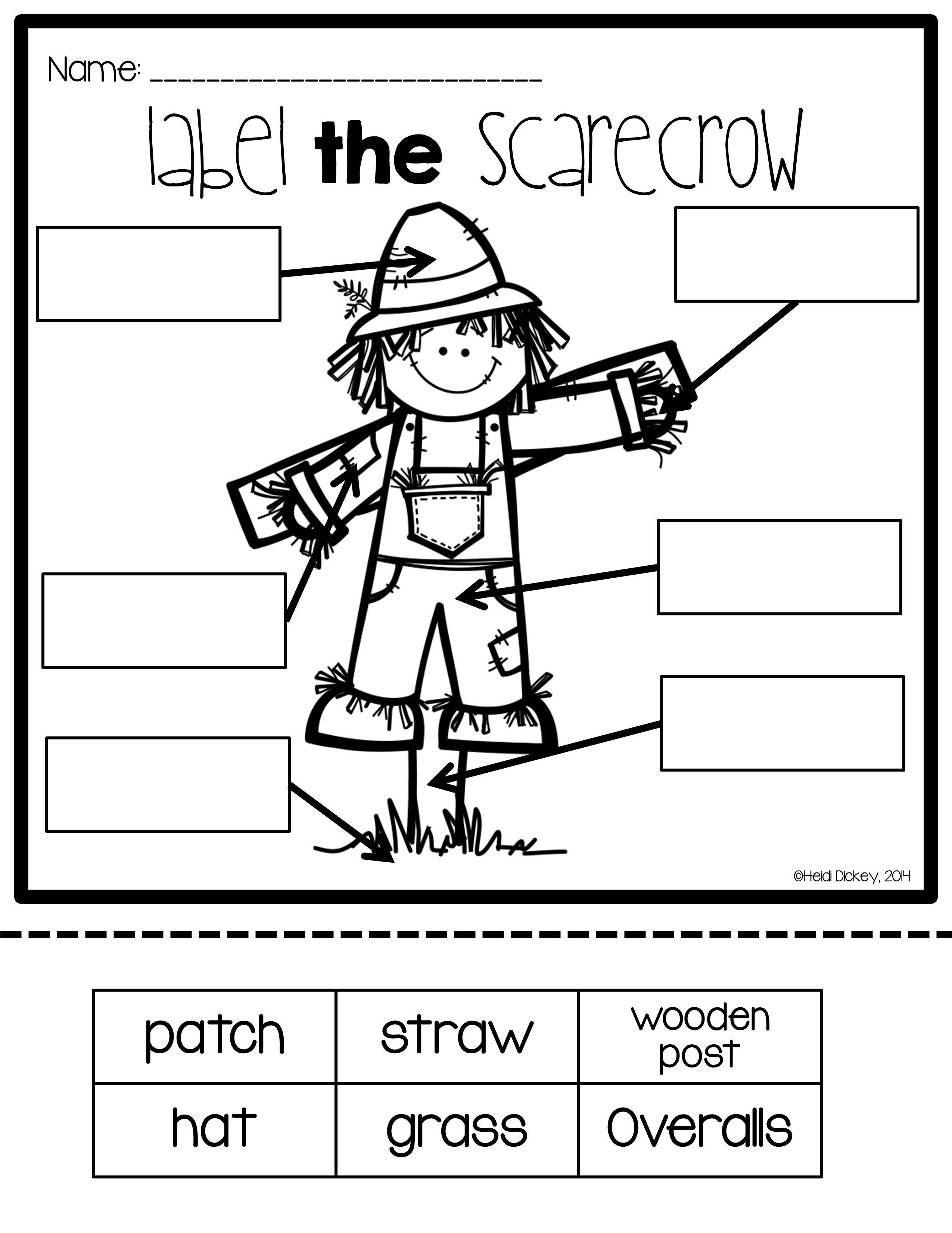Scarecrow Labeling Posters & Differentiated Labeling Activities ...