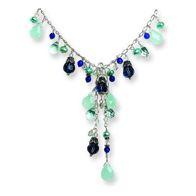 Silver Blue Crystal Blue FW Cultured Pearl Chalcedony Necklace