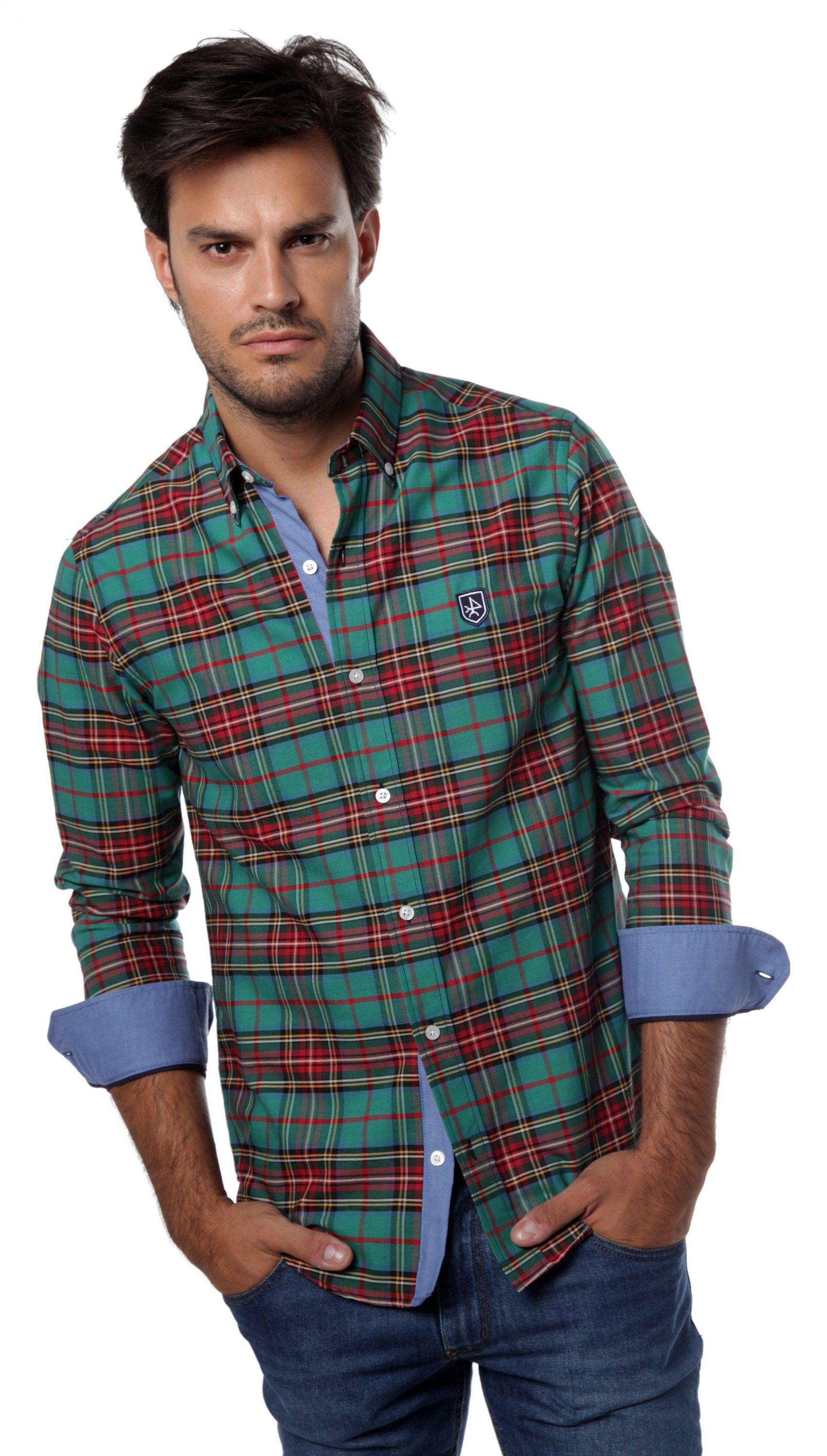 Camisa cuadros de hombre de colores verdes Valecuatro