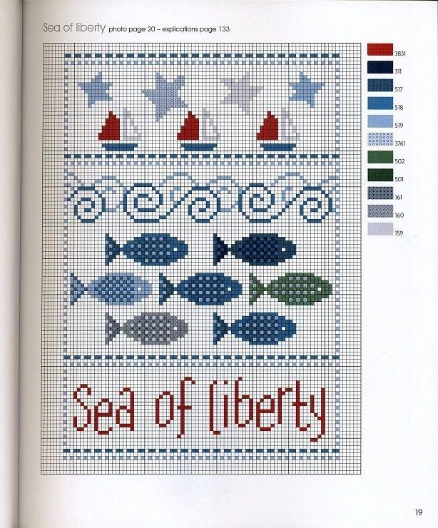 point de croix grille et couleurs de fils poissons   Ponto cruz, Bordado ponto cruz, Toalhas ...