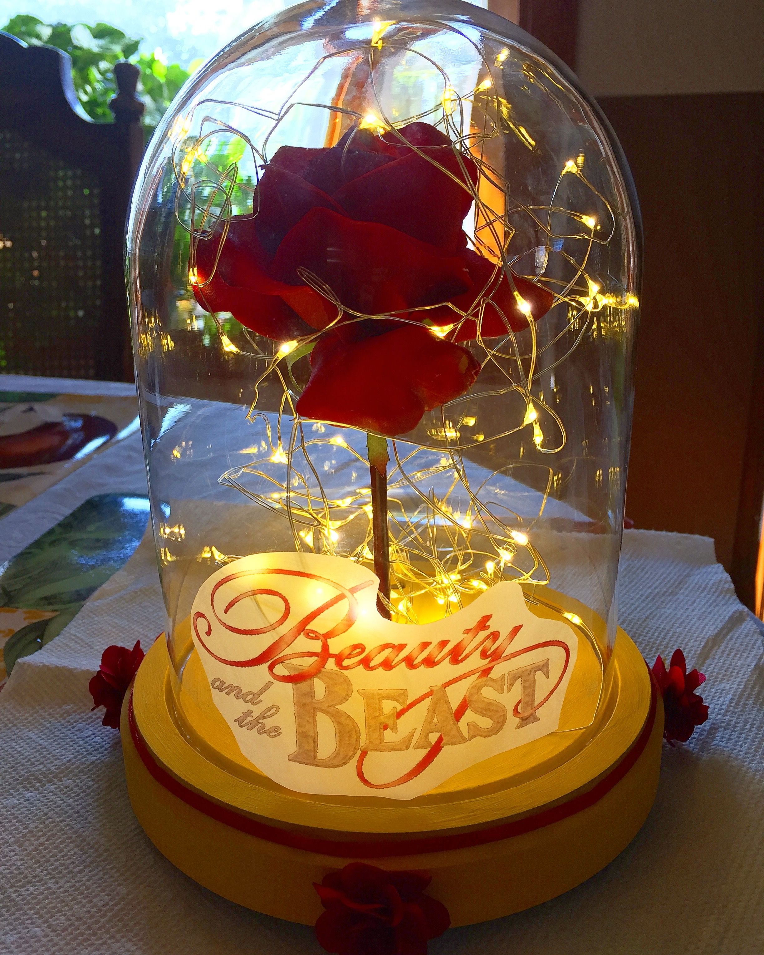 Beauty and the beast glass rose center piece kid