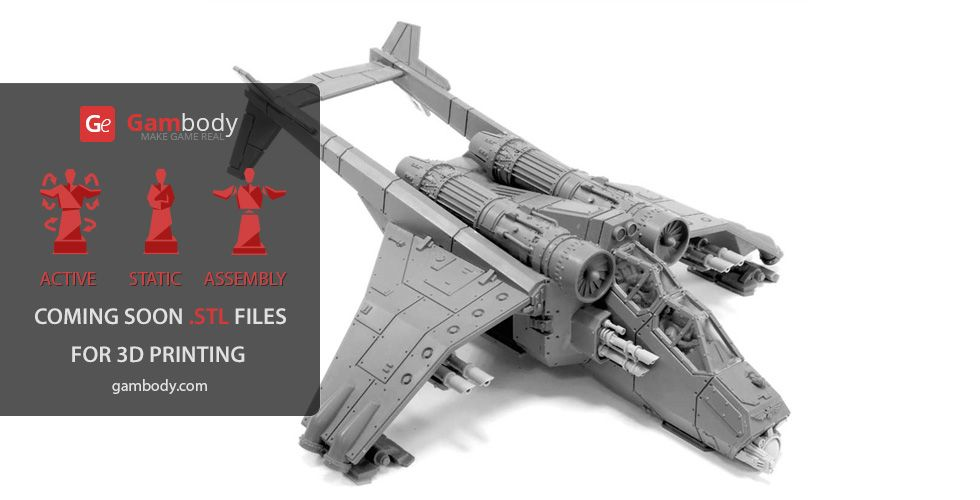 Valkyrie Helicopter 3D Printing Model   Assembly   WarHammer 40K 3D