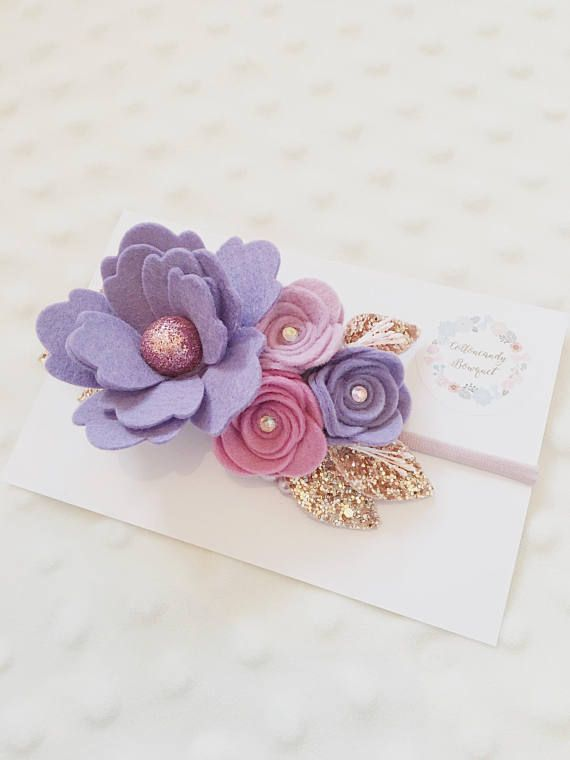 Purple rose flower headband baby headband newborn headband girls headband flower crown headband