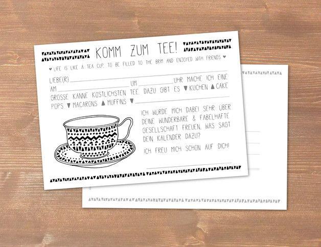 postkarte 30: komm zum tee! einladung ♥, Einladung