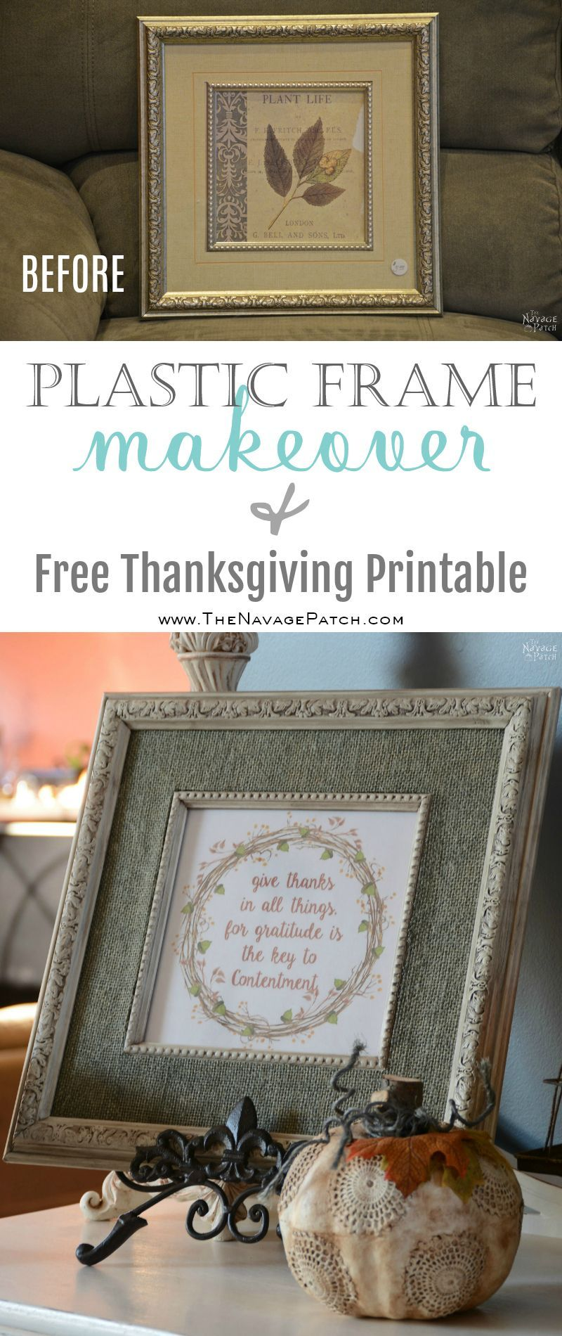Plastic Frame Makeover and Free Thanksgiving Printable