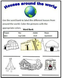 House Simple Shapes Coloring Pages likewise Snowman moreover Match Animals Homes Plants Animals additionally Houses And Homes Pdf in addition Popsicle Stick House Craft Idea For Kids. on houses and homes preschool worksheets