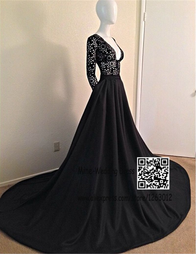 Find more prom dresses information about sexy v neck black long