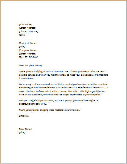 Letter Of Apology For Poor Service Download At Http