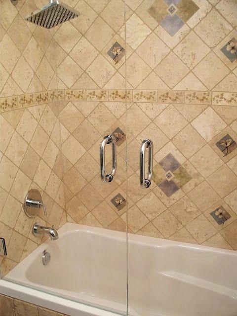 Decorator Tiles Bathroom Ideas Decorator Tiles And Glass Double Door Shower At
