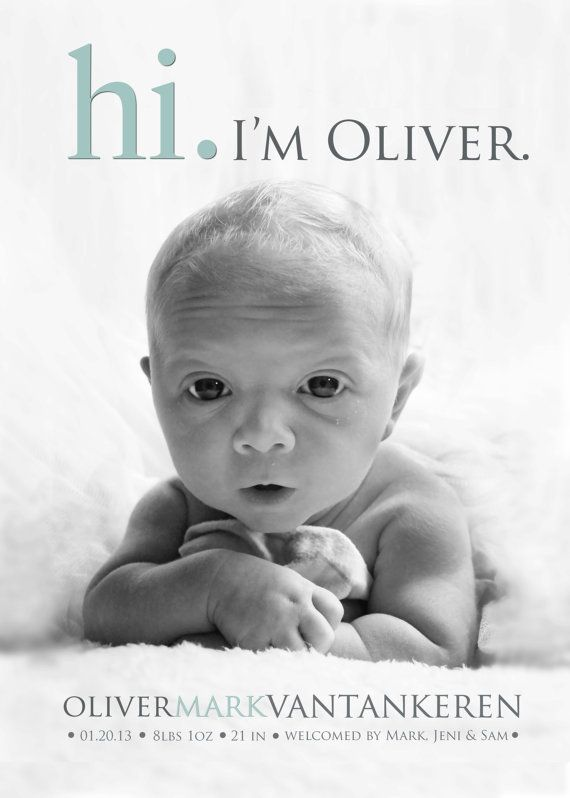Hi BABY ANNOUNCEMENT Photo Birth Announcement Baby by babybaloo – Baby Girl Announcements Pinterest