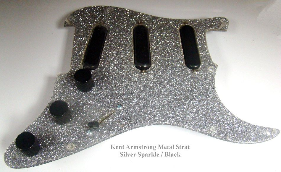 silver sparkle pickguard, kent armstrong