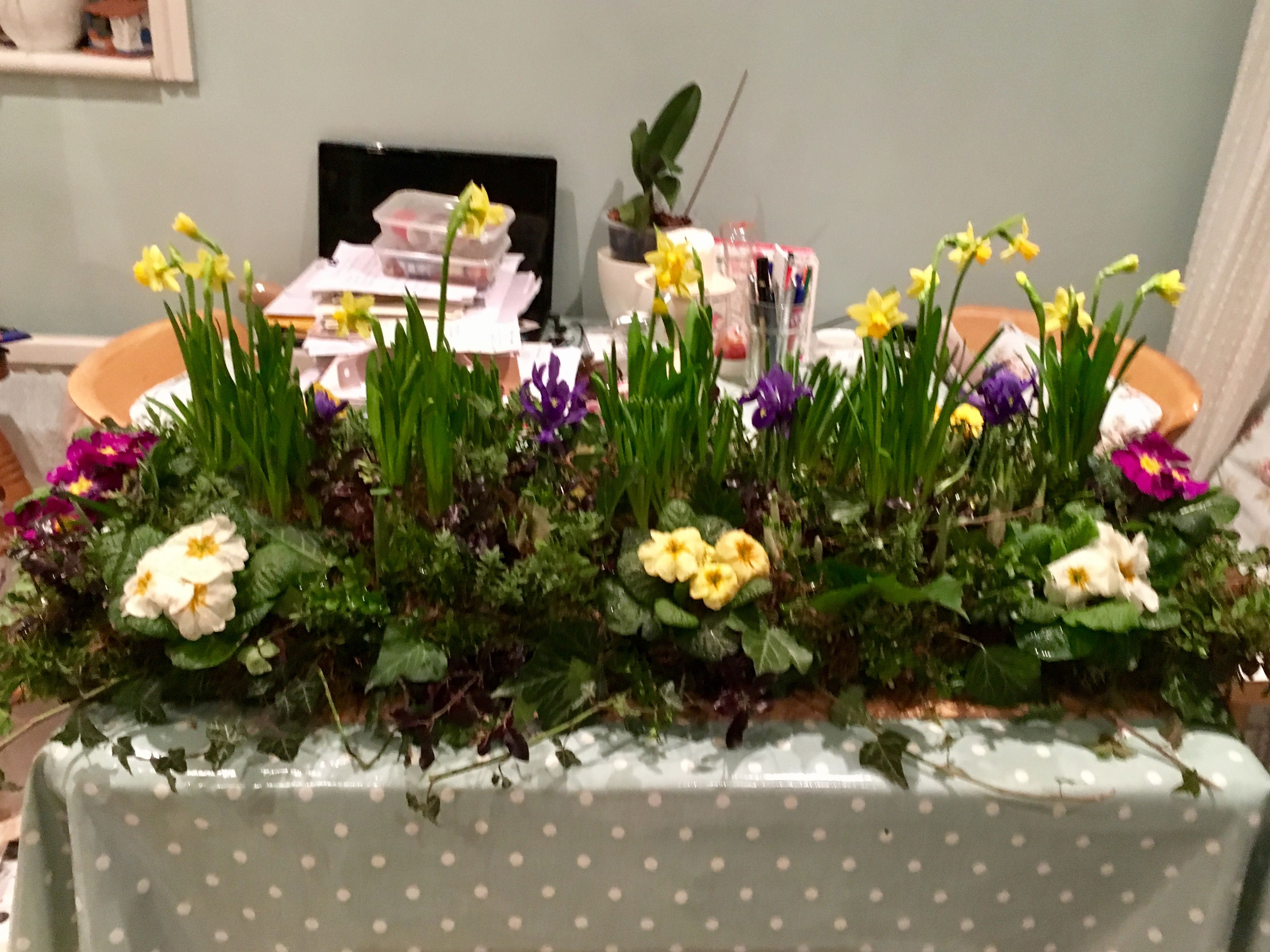 Spring flower garden funeral display by Isobel
