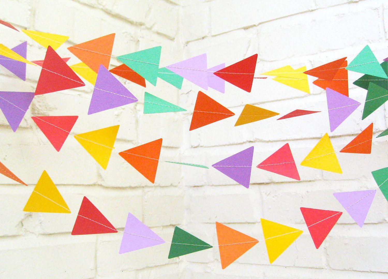 The Geo Garland, Paper Garland, Triangle Garland, Purple, Green ...