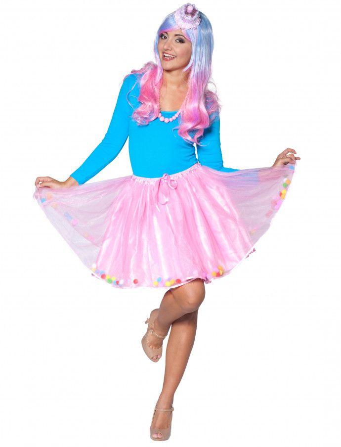 Petticoat mit 120 bunten Pom Poms pink HIER kaufen » Deiters  petticoat   rosa   ecfc958dcd