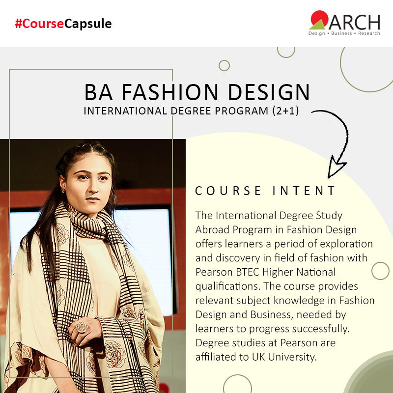 Arch Offers A 2 1 Years Bachelor Of Arts Ba International Degree In Fashion Design The Course Focuses On Help College Design Startup Fashion Business Design