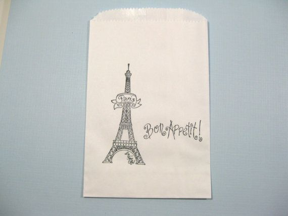 10 Black and White Eiffel Tower Favor Bags lined in wax