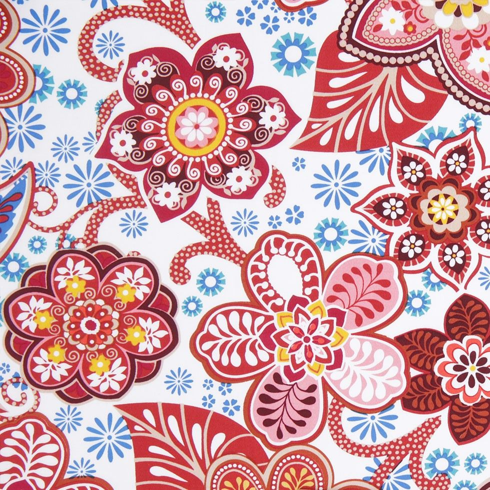 Red/Blue/White Floral Stretch Cotton Sateen Fabric by the Yard   Mood Fabrics