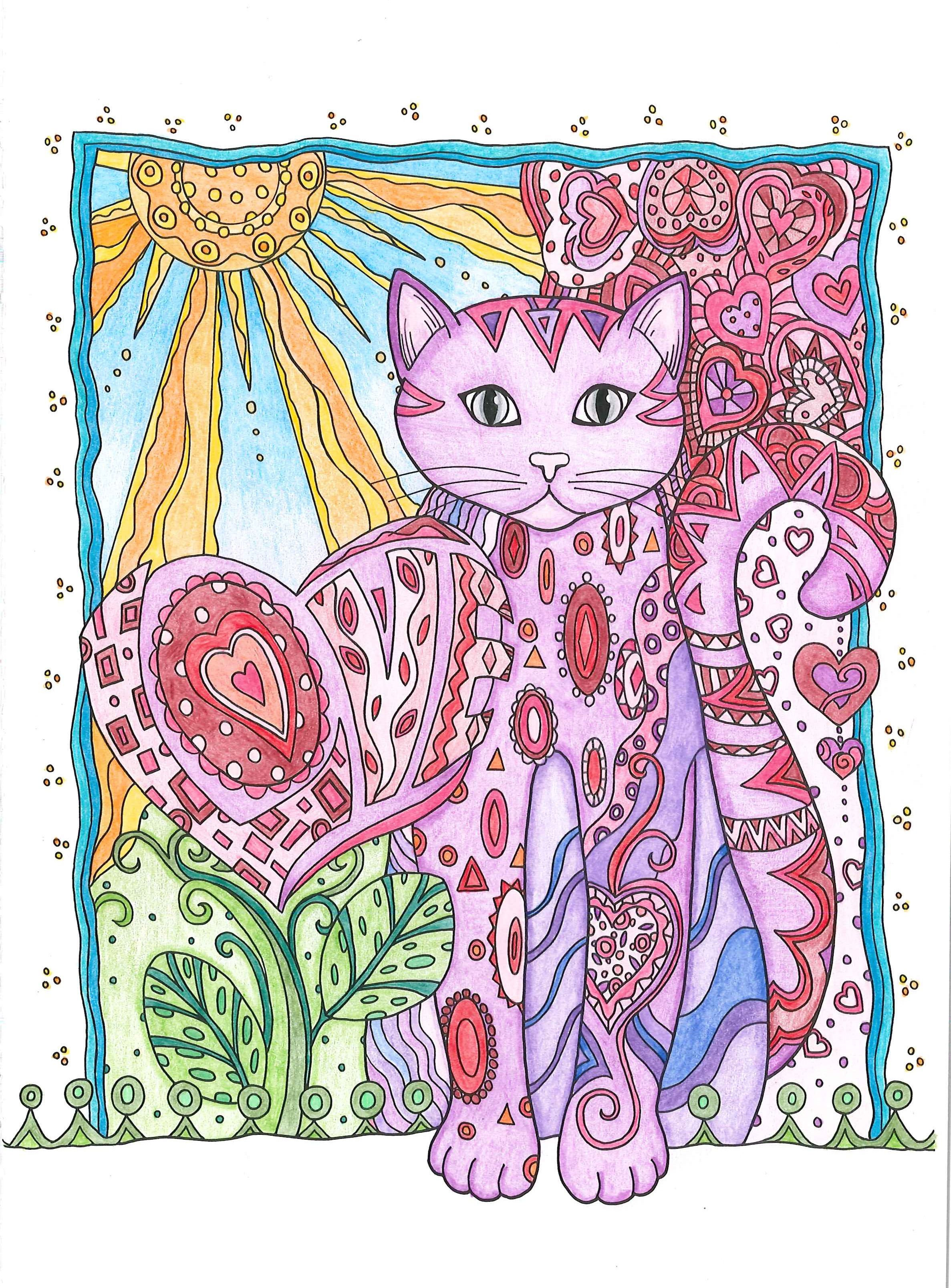 colored with marco raffine color pencils from creative haven creative cats coloring book - Coloring Book Crayons