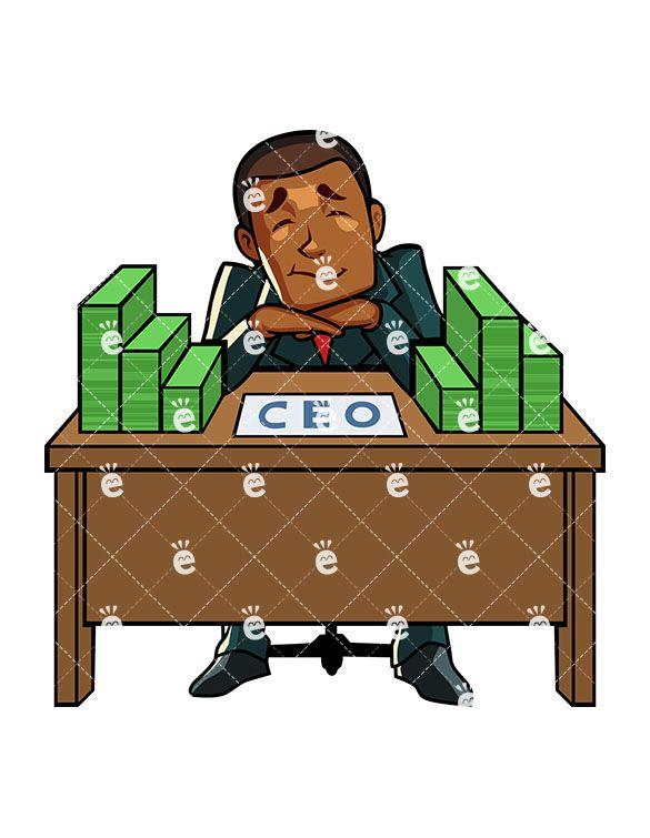 Black Ceo With Stacks Of Cash Cartoon Vector Clipart Friendlystock Work Cartoons Cartoons Vector Cartoon