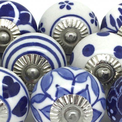 Set Of 10 Navy Blue & White Ceramic Door Knobs FP38