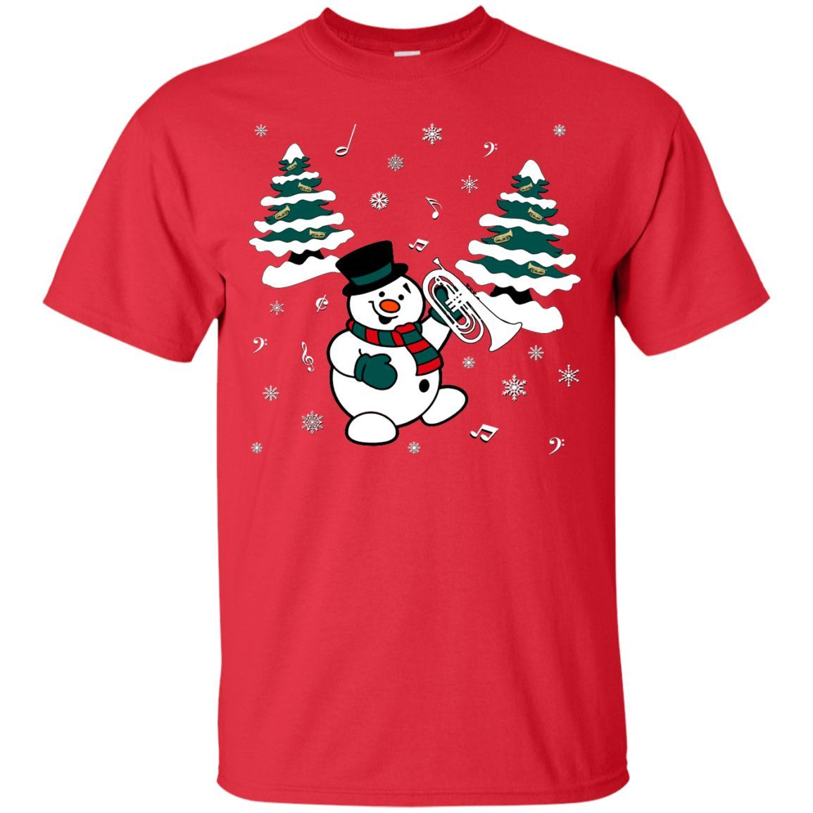 Snowman With Marching Baritone T-Shirt