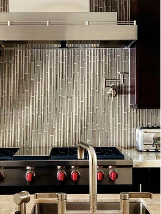 love the vertical tile backsplash