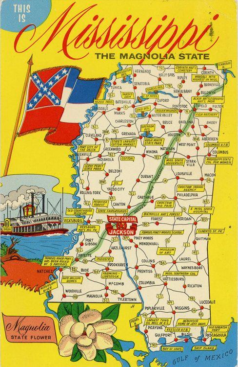 United States Map Mississippi.Mississipppi State Map Vintage Chrome Postcard 4 00 Vintage Usa