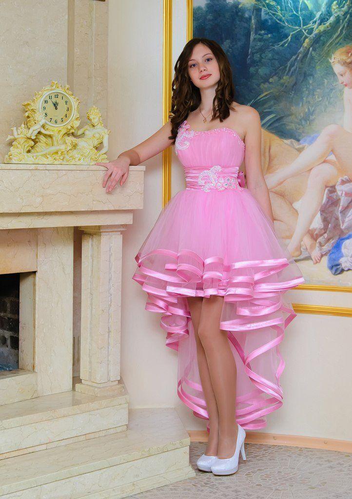 Pink one shoulder high low tulle applique short kneer-length Prom ...