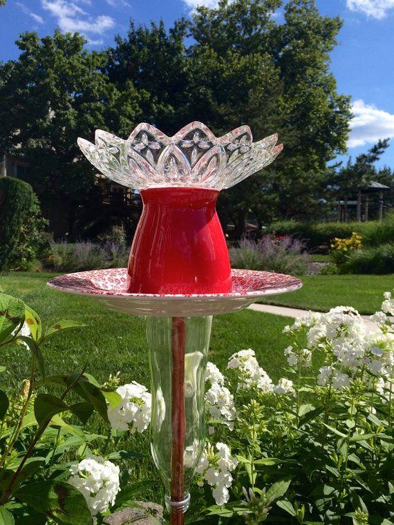 birdbath flower feeder garden totem red glass sculpture yard stake