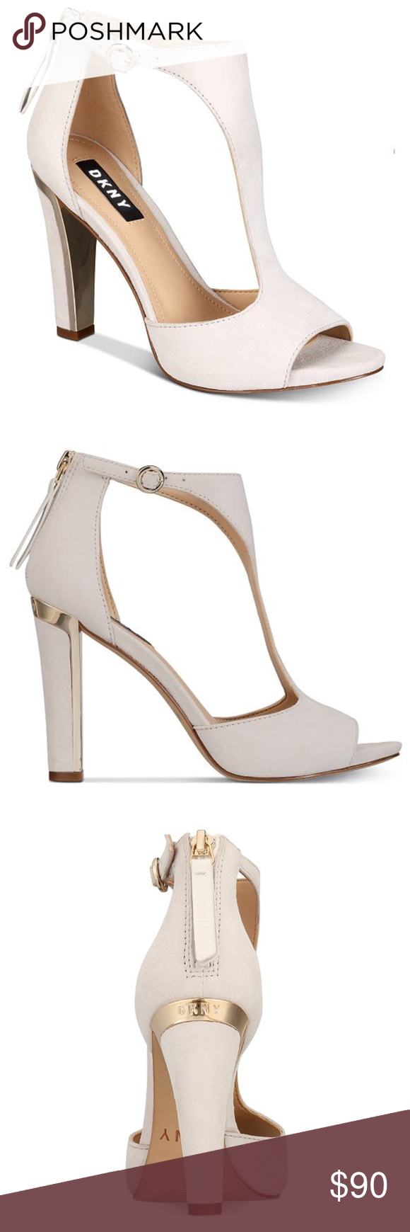 8ef0406b359 DKNY Colby T-Strap Sandals Elegant curves highlight a stylish T-strap  design on