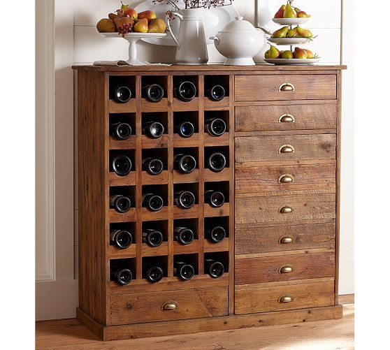 Everett Reclaimed Wood Wine Cabinet Wine Cabinets