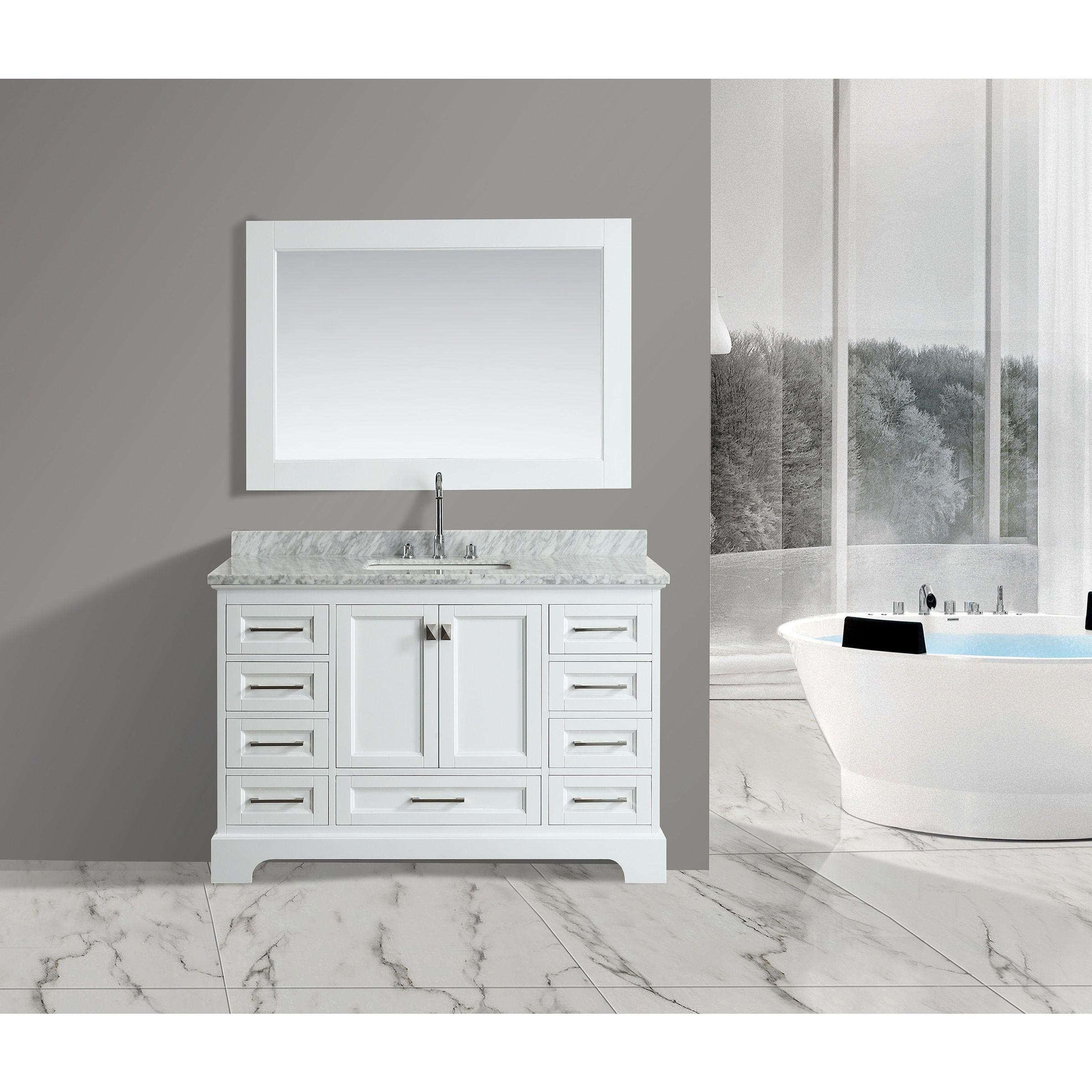 Design Element Omega White 54Inch Singlesink Mirror Vanity Set Stunning Design Element Bathroom Vanity Inspiration Design