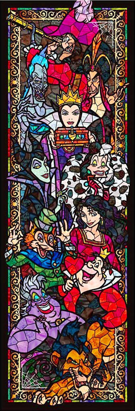 BUY 2, GET 1 FREE! Disney Villains Stained Glass 033 Cross Stitch Pattern Counted Cross Stitch Chart, Pdf Format, Instant Download/121358 #stitchdisney