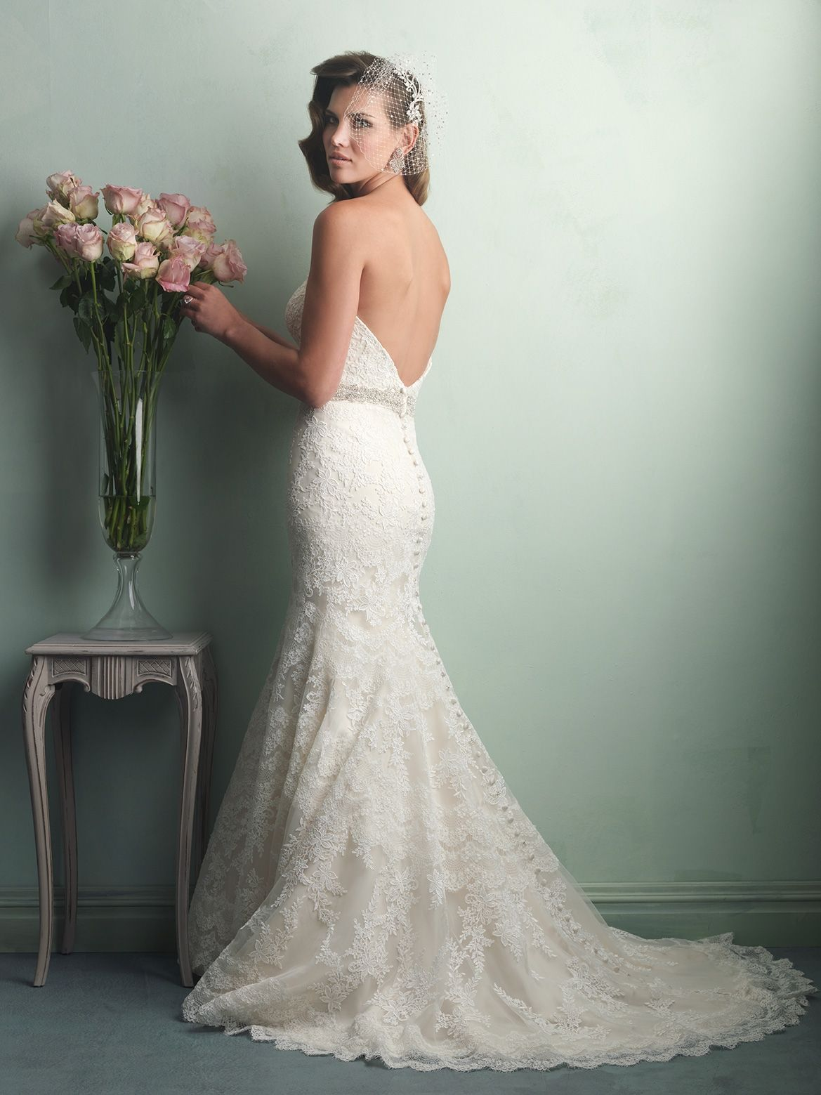 Allure Bridals Style 9157 Lace Wedding Dress With Low Back