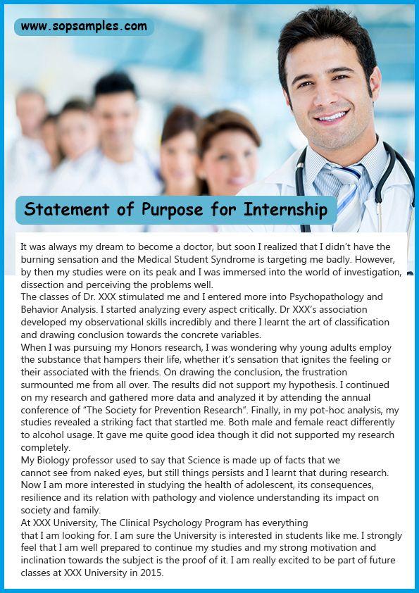Statement of purpose sample for internship SoP Samples Pinterest - how to prepare a sop format