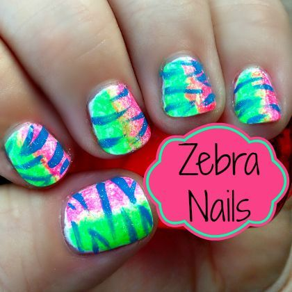 Nail Art Fun How To Paint Neon Zebra Nails Nails Pinterest