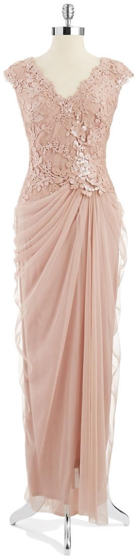 Tadashi Shoji Embroidered Mock Top Gown Antique Pink