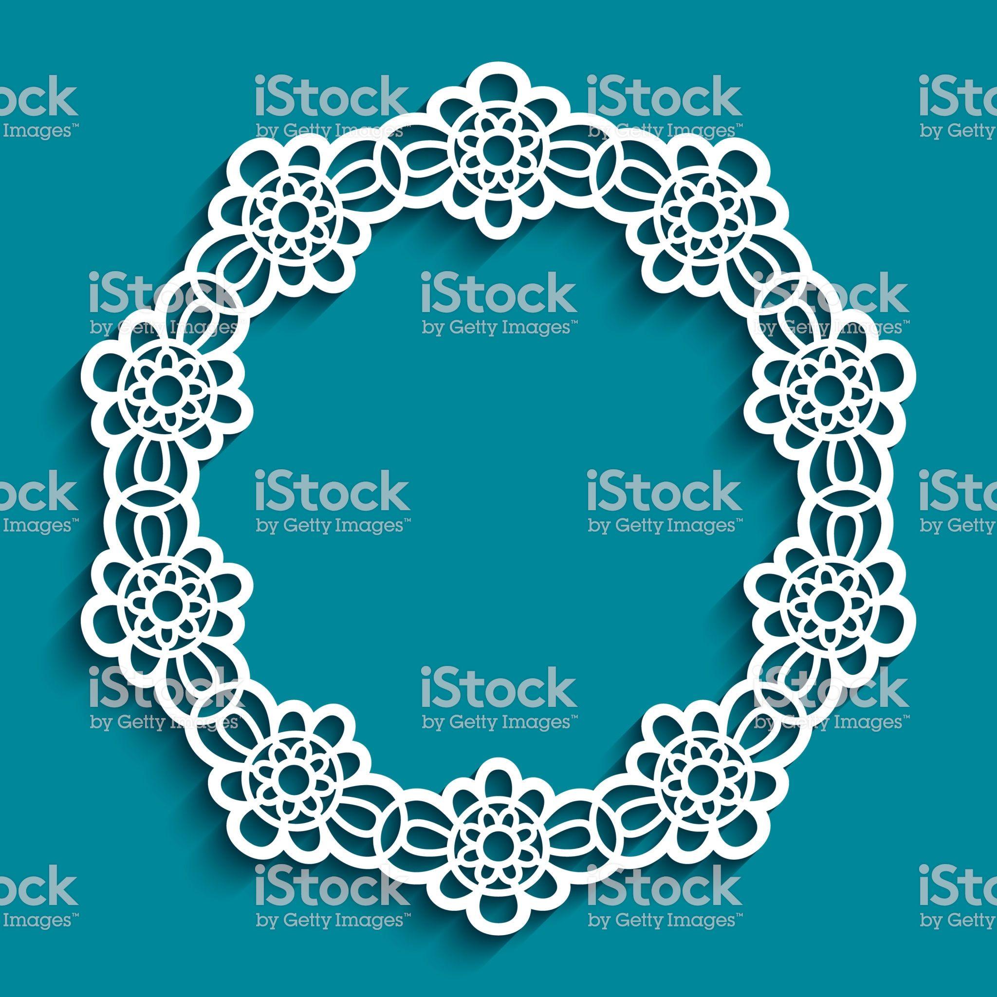 Round Frame With Ornamental Border Lace Doily Cutout Paper Circle Cerceve 25 Nisan Sanat