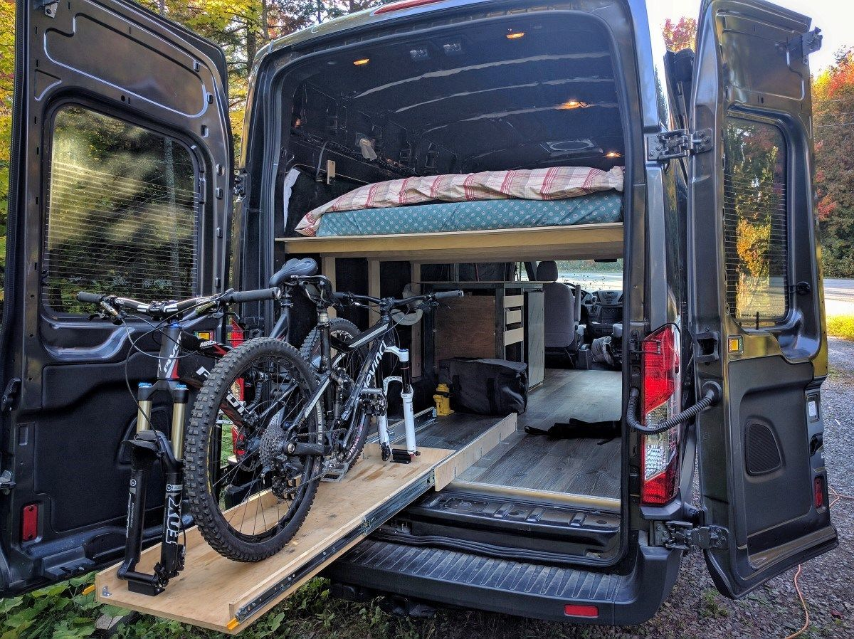Our slide out bike rack installation for our ford transit camper van conversion