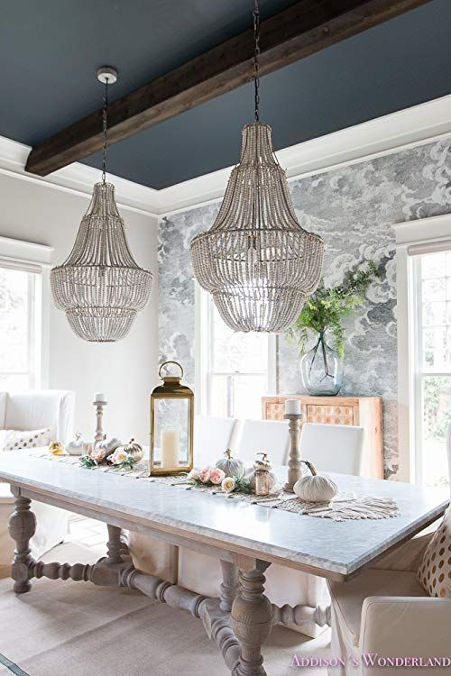 Creative CoOp Wash Metal and White Wood Beads Chandelier